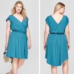 Ava & Viv Laguna Teal Wrap Dress NWT 4X